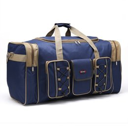 Wholesale Boys Suitcases - Wholesale- Thick Canvas Causal Duffle Bag Waterproof Mens Travel Bags Long Strap Anti-scratch Muliti-pocket Large Capacity Handbags L468