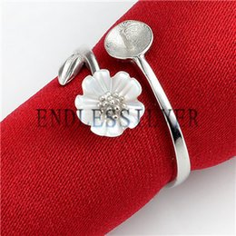 Wholesale Shell Mother Pearl Rings - Ring Settings White Shell Flower Leaf 925 Sterling Silver DIY Jewellery Findings Mounting for Pearl Party