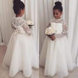 Wholesale Long Tulle Flowergirl Dresses - Lovely Boho Lace Flower Girl Dresses For Wedding Jewel Neck Long Sleeves Girl Pageant Gown Floor Length Flowergirl Dress Custom Made