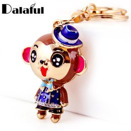 Wholesale Cute Keychains For Car Keys - beijia Lovely Smile Monkey Flower Key Chains Rings Purse Bag Buckle Pendant For Car Enamel Cute Keyrings KeyChains K306