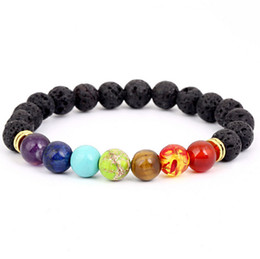 Wholesale Elastic Stone Ring - Fashion Naturial Black Lava Stone Elastic Bracelets 7 Reiki Balance Beads Bracelet for Men Stretch Yoga Jewelry
