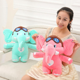 Wholesale Teddy Bear Stand - 20-75cm Elephant Plush Cloth Doll Blue pink Standing up Elephant pLUSH toys Pillow birthday gift for Children's day T12443262223