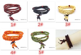 Wholesale Indian Meditation - Hot sales 5 designs Women Men jewelry 108*6mm Natural Sandalwood Buddhist Buddha Meditation 108 beads Wood Prayer Bead Mala Bracelet D806
