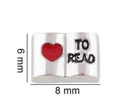 Wholesale Memory Read - 20pcs lot Love to read Book Floating Locket Charms DIY Alloy Accessories Fit For Living Magnetic Memory Glass Floating Locket
