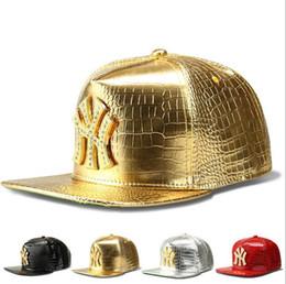 Wholesale Leather Logo Sports Hats Caps - New Faux Leather Stars logo Adjustable Snapback Baseball Caps Diamond Gold Crocodile Grain Snap Back Hat Men Women Sports DJ Hiphop Hats