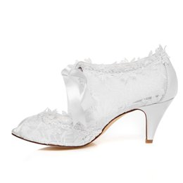Wholesale Bridal Shoes Boots - 6.8cm High Ivory Color Nice Lace Bootie Bridal Shoes Wedding Dress Shoes Handmade Shoes Evening Shoes Prom Party Shoes Size35- 42