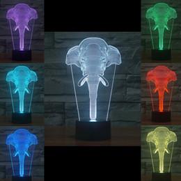 2019 luzes noturnas por atacado de elefantes 2016 Elephant estilo 3D Noite Lamp óptica noite luz 9 LEDs Atacado Night Light DC 5V Fábrica luzes noturnas por atacado de elefantes barato