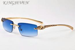 Wholesale Eyeglass Frames For Girls - 2018 cheap designer sunglasses for mens rimless buffalo horn glasses gold silver mental leopard frames cheap sunglasses women eyeglasses