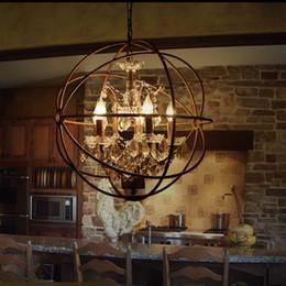 2019 lampadario di hardware Paese Hardware Vintage Orb Lampadario di cristallo Illuminazione RH Rustico Ferro Candela Lampadari Luce Globe LED Lampada a sospensione Decorazione della casa lampadario di hardware economici