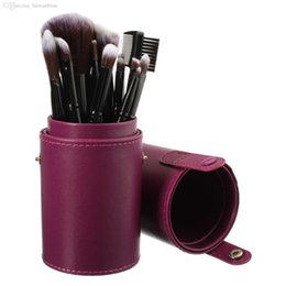 Wholesale Pen Brush Cosmetic Container - Wholesale-New Empty Portable Makeup Brush Round Pen Holder Cosmetic Tool PU Leather Cup Container Solid Colors 4 Optional Case