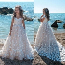 Wholesale Cheap Flower Girls Dresses Sale - Hot Sale 2018 Flower Girls Dresses For Weddings 3D Floral Applique Blush Pink Ball Gown Kids First Communion Dress Cheap Pageant Gowns