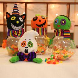 Wholesale Transparent Gift Boxes Wholesale - 4 styles Halloween Decorative supplies Creative transparent cartoon pumpkin candy jar Children gift box Gift jar IA659