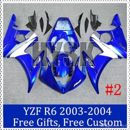 Wholesale Top Fairing R6 - Blue fairing kits for Yamaha YZF R6 2003 2004 top quality fairing set 03 04 YZF R6 Custom Painting Motorcycle Fairing with gifts
