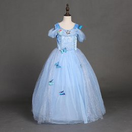 Wholesale Christmas Gowns For Baby Girls - snowflake diamond cinderella dress 2016 fancy dress costumes for kids blue cinderella gown Halloween baby girl butterfly dress in stock
