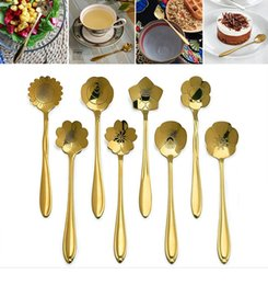 Wholesale Small Metal Spoons - Golden Cherry Blossom Spoon Stainless Steel Flower Shape Tea Coffee Spoons Ice Cream Spoon Small Condiment Spoons OOA2466