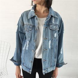 Wholesale New Style Hot Women Jackets - Boyfriend Style New Fashion Women Autumn Long Sleeve Washed Blue Basic Coats Vintage Slim Hot Fashion Holes Cacual Denim Jackets Women Coat