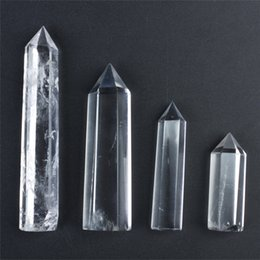 Wholesale Clear Quartz Crystals - FREE SHIPPING HJT 4pcs wholesale hot sell New natural clear crystal point quartz points reiki healing point Cure chakra stone