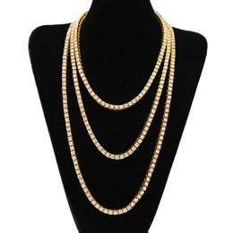 Wholesale Pearl Necklace 24 - Europe and America Hotsale Gold Plated AAA Rhinestone 20 24 30Inch Chain Necklace for Men Women Luxury Chain for Party Wedding