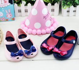 Wholesale peep toe jelly shoes - Melissa Children Soft Bottom Princess Girls Bow Shoes Jelly Crystal peep-toe Sandals Shoes Beach shoes free shipping