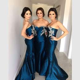 Wholesale Teal Lace Mermaid Dress - 2016 New Vestidos Bridesmaid Dresses Sweetheart Appliques Beads Teal Taffeta Long Mermaid Party Dress Junior Maid Of Honor Gowns Under 100