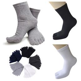 Wholesale Men Fingers Socks - Wholesale-Casual Breathable Men Sports Five Finger Toe Socks Solid Long Ankle Cotton Socks