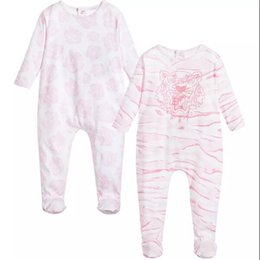 Wholesale Long Sleeve Newborn Outfits - retail High Quality Spring   Summer Baby Romper Long Sleeved Crew Newborn Kids Boy Infant Cotton Pink Print Jumpsuit Outfits 0-24M