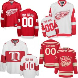 Wholesale Cheap Custom Hockey Jersey - Custom Detroit Red Wings Jerseys Authentic personalized Cheap Hockey Jerseys Any Number & Name Embroidery Logos size S-3XL
