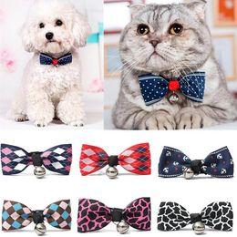 Wholesale cat ties - New Adjustable Puppy Kitten Dog Cat Pet Bow Tie With Bell Necktie Collar