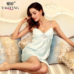 Wholesale Lace Nighties Nightgowns - Wholesale- New Summer Sexy lingeire Ladies women Satin Lace Strappy Nightdress Nightie Nightgown Chemise