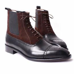 Botas de corte baixo marrom homens on-line-Botas masculinas Sapatos feitos à mão feitos sob encomenda Genuíno couro de bezerro Semi-brogue design Cor preto / marrom moda botas HD-B024