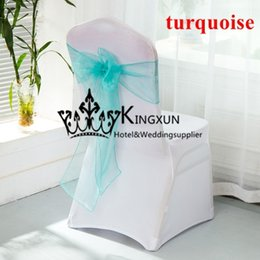 Wholesale Turquoise Wedding Chair Covers - For Wedding White Lycra Spandex Chair Cover With Turquoise Color Organza Chair Sash Free Shipping