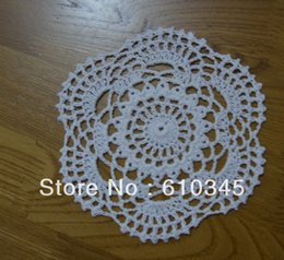 Wholesale Ecru Crochet Doily Mat - Wholesale- Free shipping hand made Crochet cotton Doily,Cup mat ,Lace Appliques,Ecru and White 15CMX15CM Round 20PCS LOT Wholesale