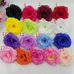 Wholesale Black Roses Artificial Flowers - 200PCS 8CM 17Colors Silk Rose Artificial Flower Heads High Quality Diy Flower For Wedding Wall Arch Bouquet Decoration Flowers FR03
