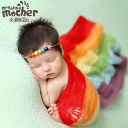 Wholesale Baby Carpet Props - 40*80cm 40*150cm Two Size Baby Photography Wrapped Carpet Newborn Photography Prop Mohair Rainbow Wrap Clothing Cute Baby Photo Accessories