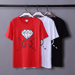 Wholesale Anti Diamond - Summer 2018 Super Quality Diamond Printed Mens Casual T Shirt Slim Fit Short Sleeve Letter Embroidery Fashion Designer Men's T-shirt