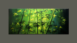 Wholesale Modern Abstract Oil Paintings Bamboo - Original Abstract Feng Shui Painting oil on canvas green bamboo unique zen art Large Modern High Quality 100% Handmade Art Home Decor Fsh20