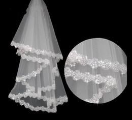 Wholesale Designer Bridal - Designer Best Selling Cheapest In Stock Short Length Bridal Veil White Ivory Appliques Wedding Veil Lace Online