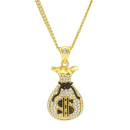 Wholesale Money Bag Pendants - Hip Hop Trendy Gold US Dollar Money Bag Pendant with Crystal Charm Long Chain Necklace Jewelry Gift for Men