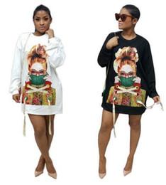 Wholesale Mini Jumper - 2017 new Women Casual sweater dress Fashion modern girl printing Long Jumper Ladies Hip-hop Hoodies mini Dress club loose Sweatshirts