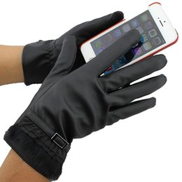 Wholesale Ladies Winter Leather Gloves - Brand New Black PU Five Fingers Gloves For Ladies Winter Warm Waterproof Snowboarding Windproof Non-slip Gloves Touch Screen Gloves