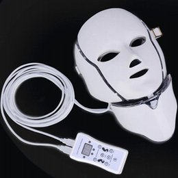 Wholesale Blue Led Light For Acne - PDT Photon LED Facial Mask Skin Rejuvenation Beauty Face Neck Therapy 7 Colors Lights Red Blue Green For Pigmentation Correction