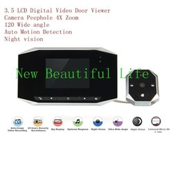 Wholesale Digital Video Doorbell - Brand New 3.5 LCD Digital Video Door Viewer Doorbell Camera Peephole 4X Zoom 120 Wide angle Auto Motion Detection Night vision