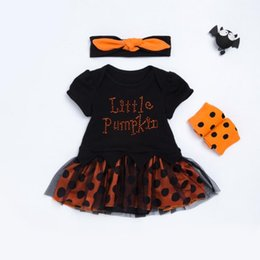Wholesale Onesie Dresses - 2017 Halloween Children Sets pumpkin Dots Girls Dress Clothing Sets baby rompers onesie + headbands + polka dot leggings outfits