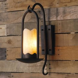 Wholesale American Marble - American country-style restaurant garden wall lamp retro bedside aisle corridor Iron and marble wall light