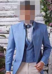 Wholesale Gray Wool Jacket High Collar - 2017 classic Groomsmen suits light blue Wedding suits for Men Tuxedos high collar suits buttonless three piece Suit (Jacket+Pants+vest+tie)