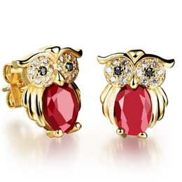 Wholesale Small Owl Stud Earrings - Popular vintage owl stud earrings wholesale Plated 18K gold delicate small inlaid black red white CZ diamond earrings for women