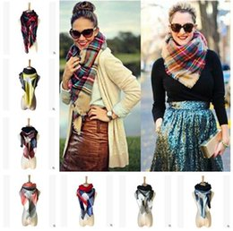 Wholesale Thick Scarves For Winter - Winter Scarf For Women Men Fashion Plaid Thick Triangle Scarves Female Winter Accessories Ladies Warm Scarf 140x140x220cm 33 Styles