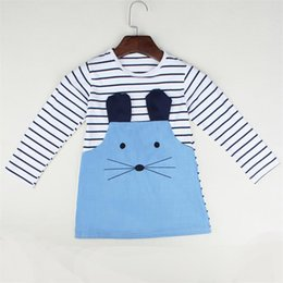 Wholesale Long Sleeve Leopard Lace Dress - White With Blue Stripe Mouse Girls Dress Children Jean Denim Dresses Autumn Long Sleeve Girl Jumpers Blouse Kids Clothes Outfit