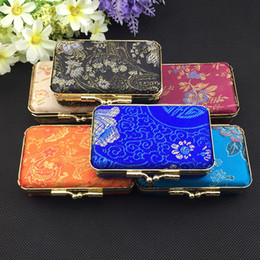 Wholesale Small Mirrored Boxes - Portable Small Travel Rectangle Jewelry Carrying Storage Case with Mirror Gift Box Metal Clip Silk Brocade Floral Cloth Craft Packaging Box