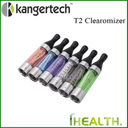 Wholesale Glass T2 - Authentic! Kanger T2 Clearomizer 2.4ml Capacity with 1.8ohm Replaceable Coil Head 6 colors large in stock Free DHL fast shipping